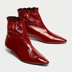 NWT ZARA Red Patent Leather Kitten Heel Bootie 6